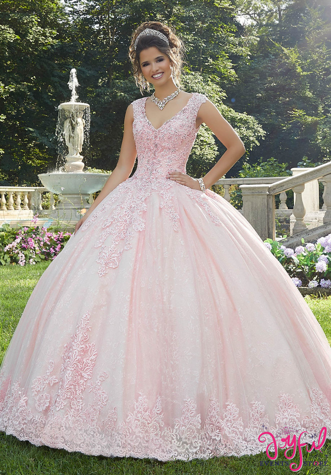 Crystal Beaded and Lace Quinceañera Ballgown #89273