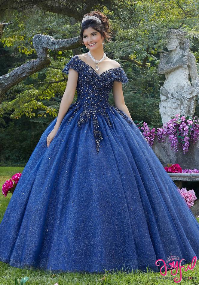 Metallic Embroidered Tulle Quinceañera Dress #89276