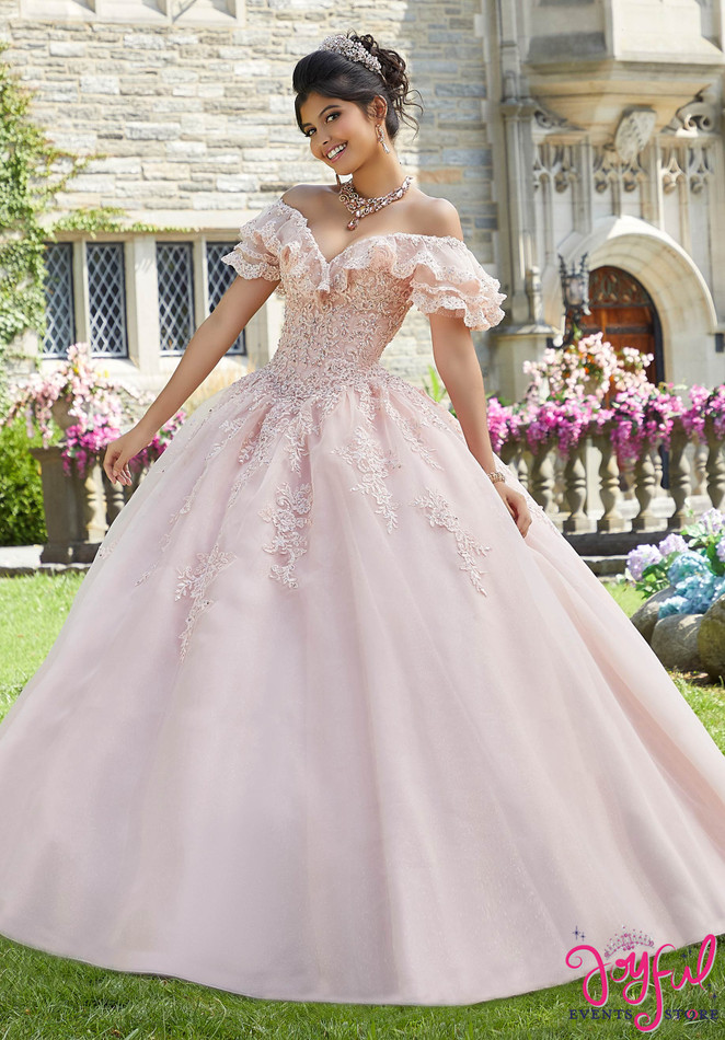 Crystal Beaded Lace Appliqué Quinceañera Dress #60107