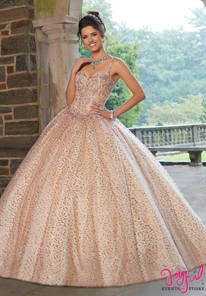 Patterned Glitter Net Quinceañera Ballgown #60108