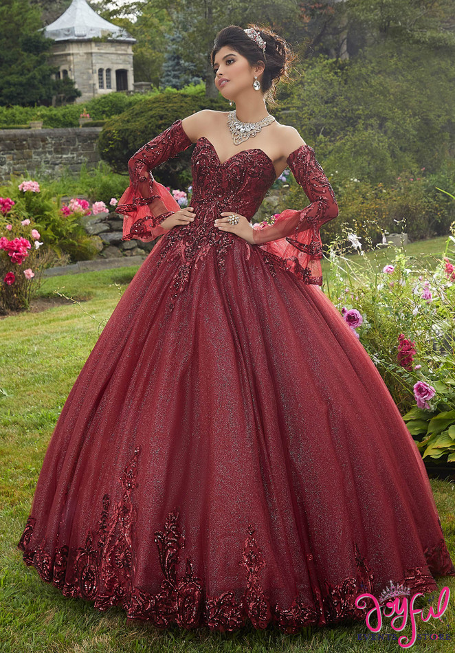 Pattern Sequin and Glitter Tulle Quinceañera Dress #60110