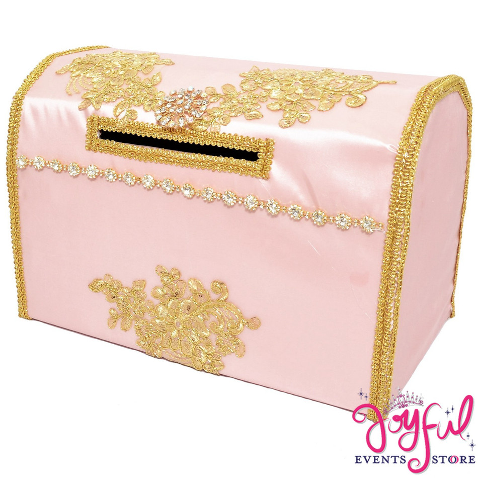 """15"""" Pink/ Gold Money Gift Box #MNYBX38"""