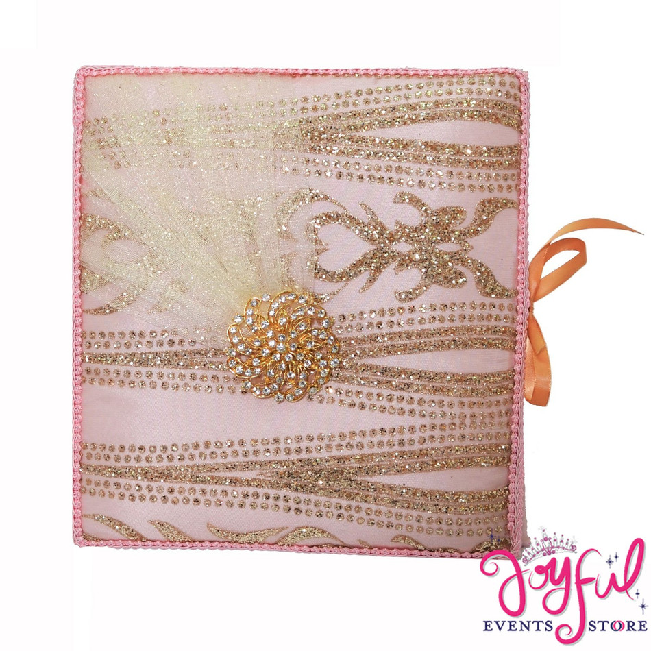 """12"""" Pink with Gold Guest Book - #GB109"""