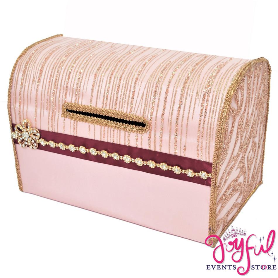 "15"" Pink/ Gold/Wine  Money Gift Box #MNYBX39"