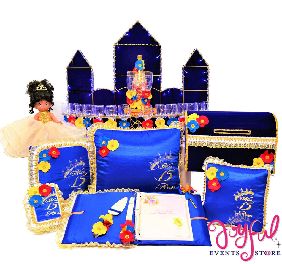Beauty and the Beast Theme Quinceanera Package Doll, Pillows, Guest Book, Album, Bible, Cake Server, Money Box, Cider Bottle and Toasting Set #QSP102