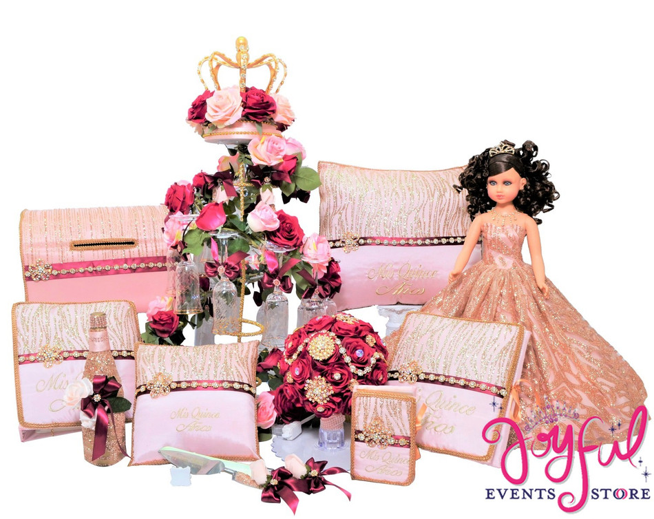 Princess Quinceanera Package with Flower Bouquet, Doll, Pillows, Guest Book, Album, Bible, Cake Server, Money Box, Cider Bottle and Toasting Set #QSP100