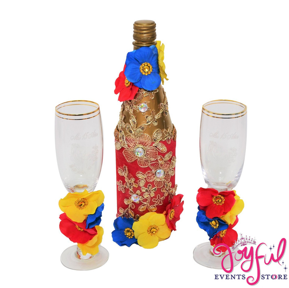 Beauty and the Beast Theme Toasting Set  Flowers Decorated Glasses and Cider Bottle #TSAC18
