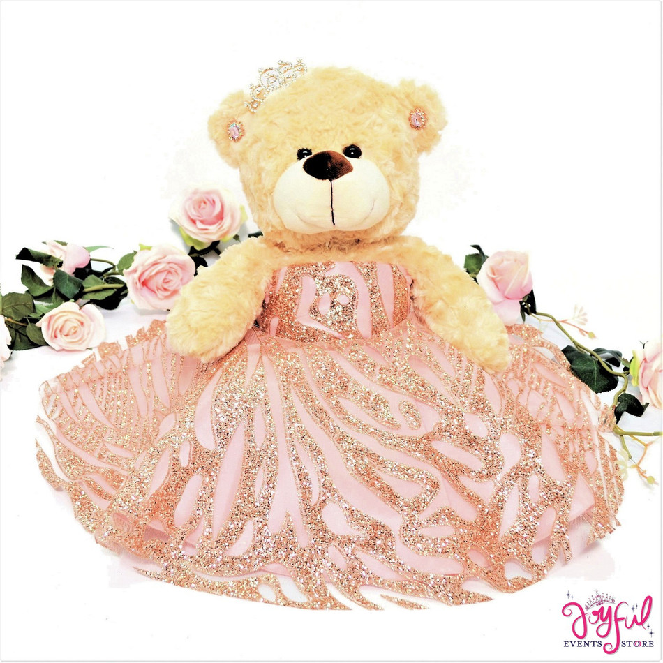 "17"" Rose Gold Quinceanera Teddy Bear #QBR26"