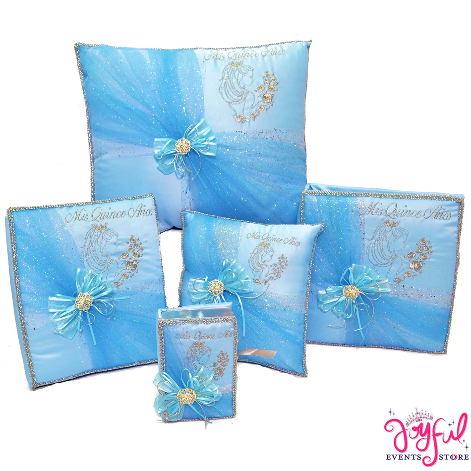 Quinceanera Blue Accessories Pillows, Photo Album, Guest Book and Bible #QSET111