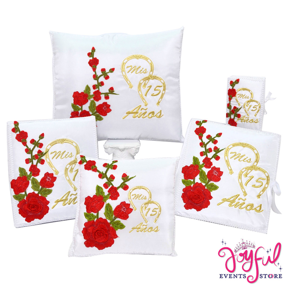 Quinceanera Charra with Roses Accessories Pillows, Photo Album, Guest Book and Bible #QSET116