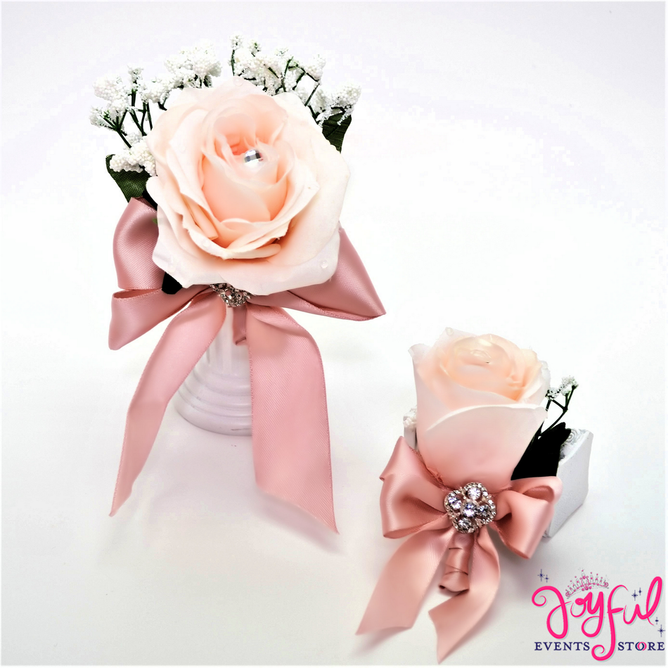 Silk Flower and Boutonniere Hand Corsage (6 min)#CRSG5SET