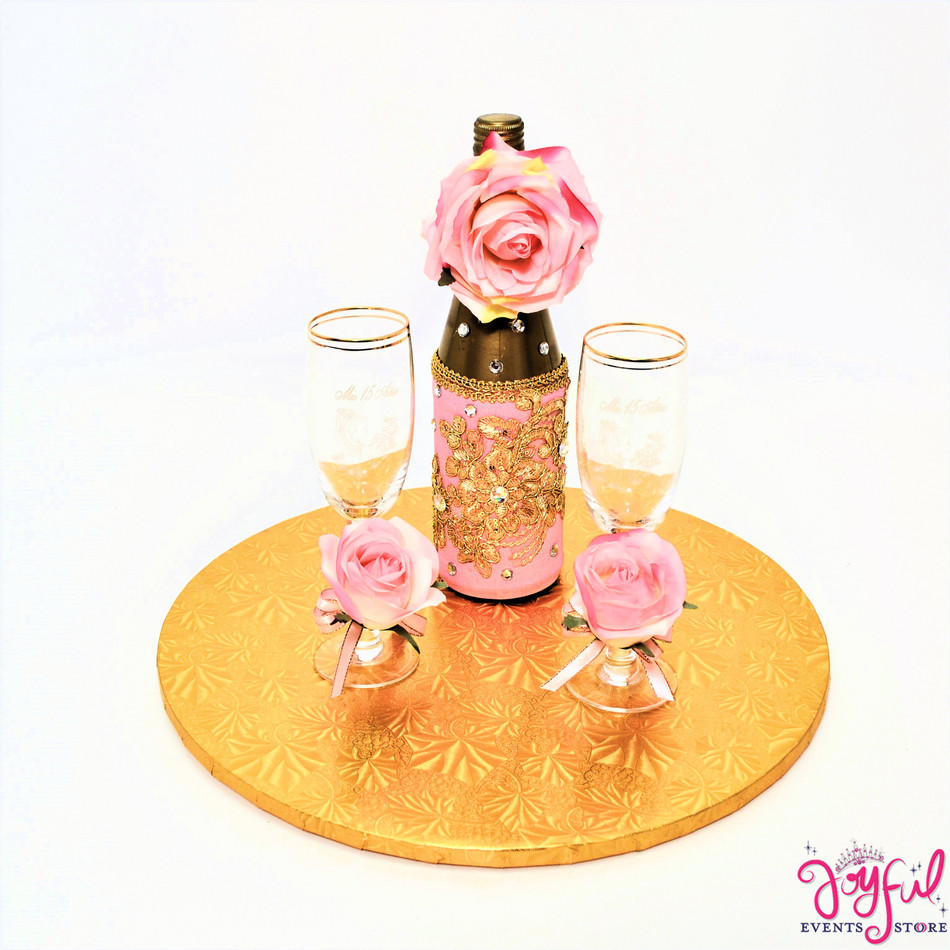 Pink/Gold Toasting Set  Flowers Decorated Glasses and Cider Bottle #TSAC19