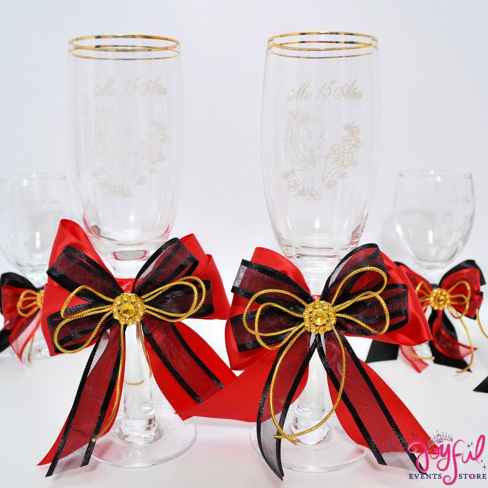 "8"" Decorated Red Bow Toasting Glasses #TG37"
