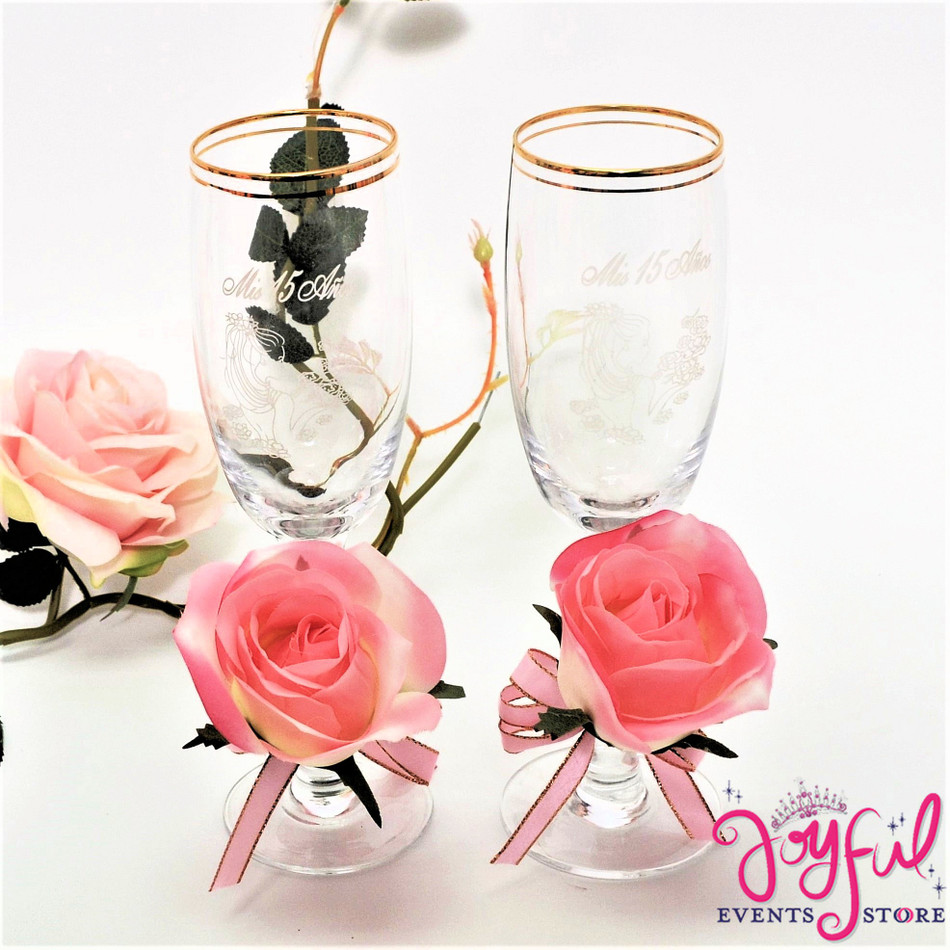 """8"""" Decorated Coral Flowers Toasting Glasses #TG38"""