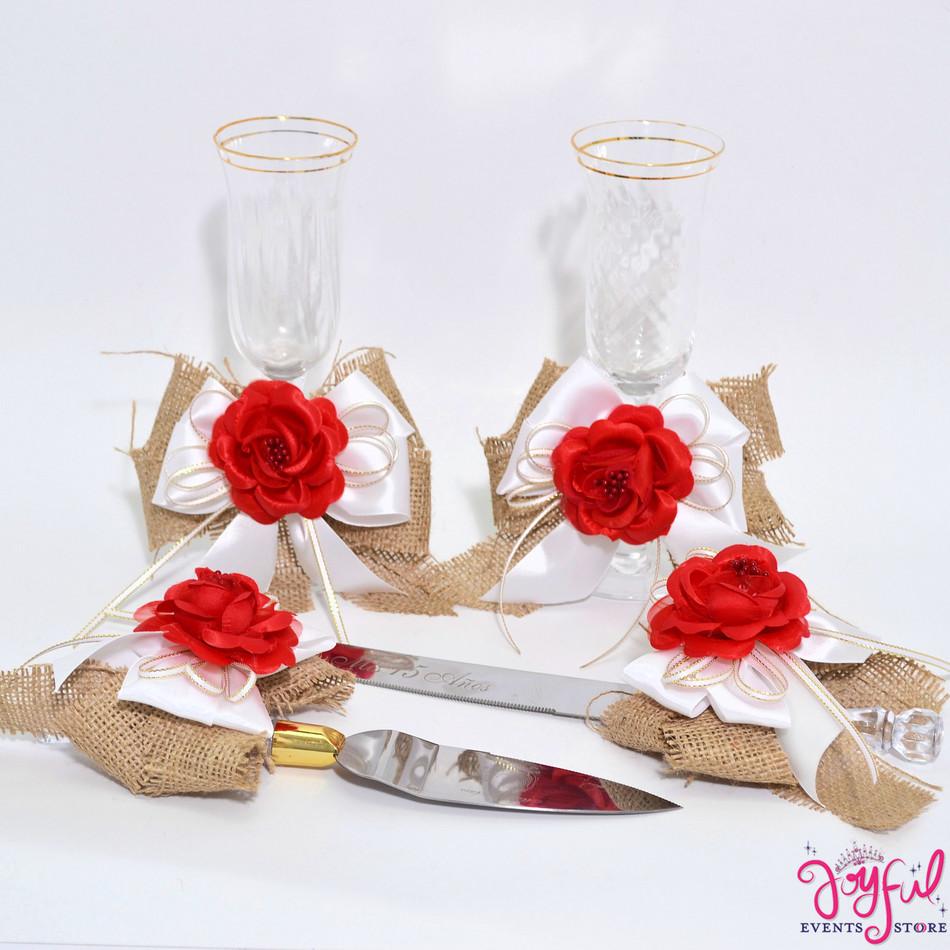 Charra Toasting Glasses with Cake Server  & Knife Set  #TGCS33