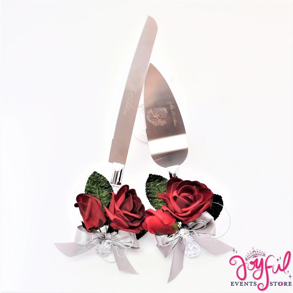 Wedding or Quinceanera Red Roses Cake Server & Knife Set  - #CS40