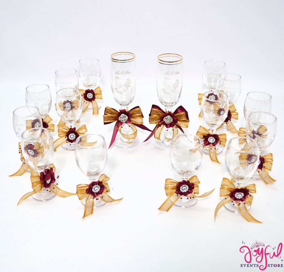 "5"" Brown with Wine Decorated Toasting Glasses, Cider Bottle and Cake Server Set - 14 Glasses  Plus 2 Cups #TG11DEC4CR"
