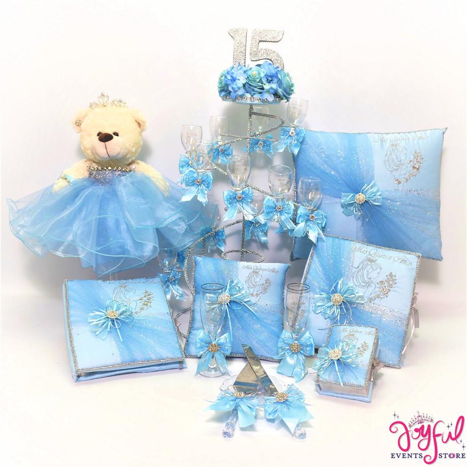 Light Blue Quinceanera Package Toasting Set, Bear, Pillows, Guest Book, Album, Bible  and Cake Server #QSP99