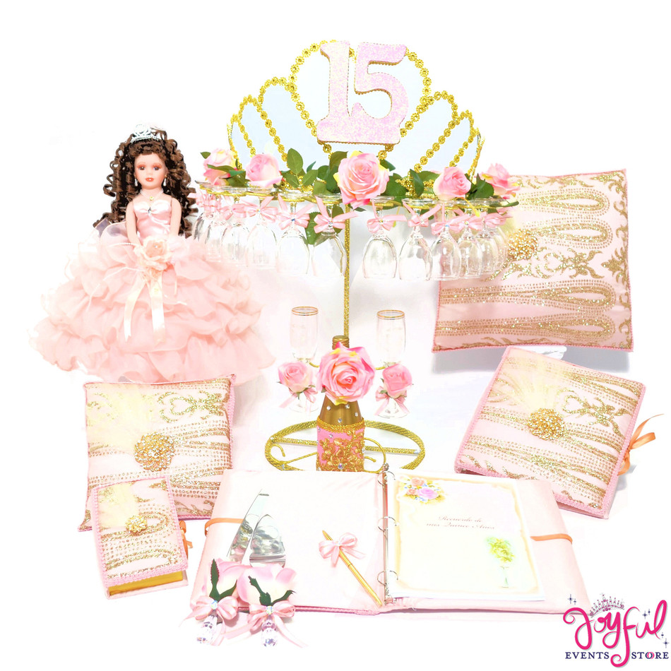 Tiara Quinceanera Package Toasting Set,Cider Bottle, Doll, Pillows, Guest Book, Album, Bible  and Cake Server #QSP110