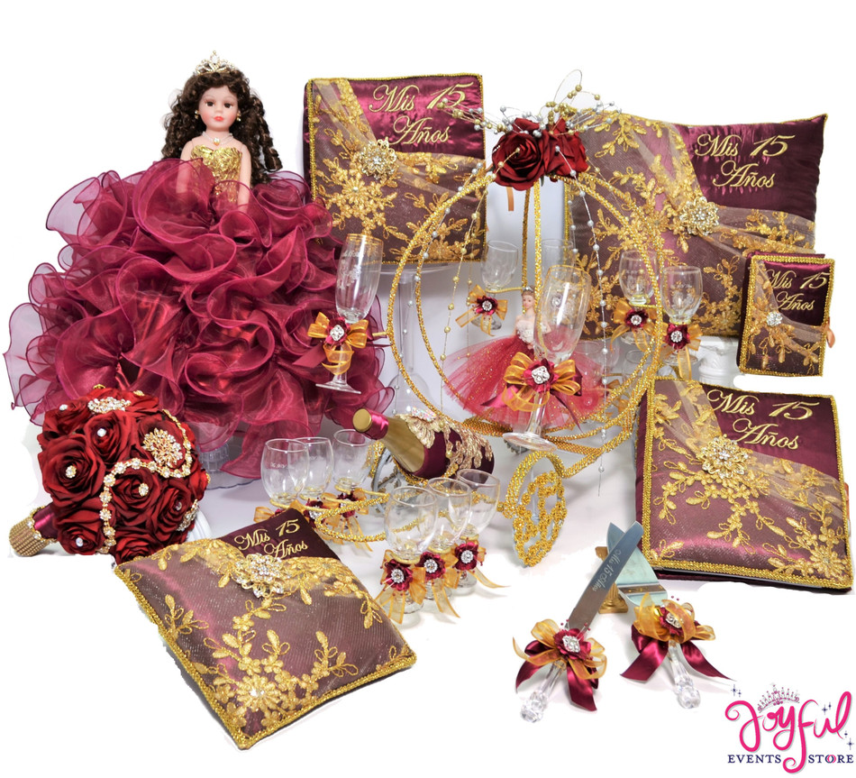 Luxurious Wine Quinceanera Package with Flower Bouquet, Doll, Pillows, Guest Book, Album, Bible, Cake Server, Money Box, Cider Bottle and Toasting Set #QSP106