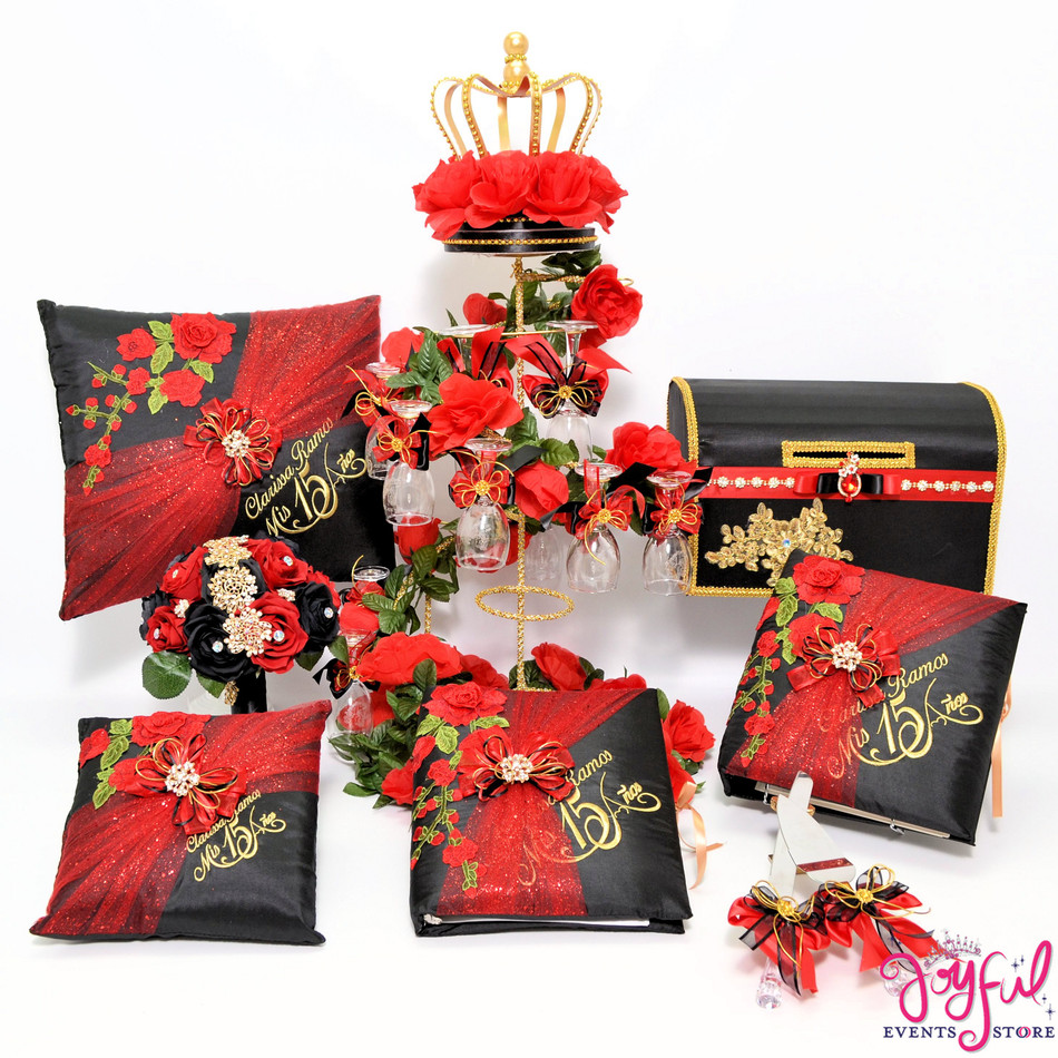 Charra Red Quinceanera Package with Flower Bouquet, Pillows, Guest Book, Album, Bible, Cake Server, Money Box and Toasting Set #QSP108