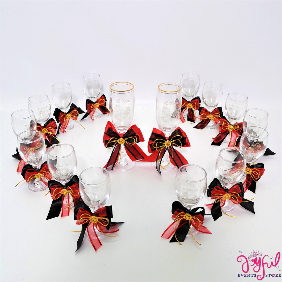 "5"" Charra Decorated Toasting Glasses  - 14 Glasses Plus 2 Cups #TG12DEC4"