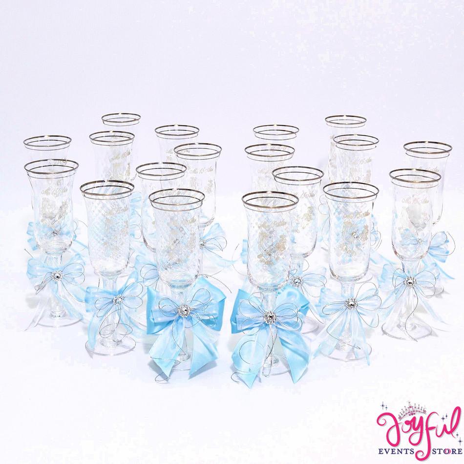 "5"" Light Blue Decorated Toasting Glasses  - 18 Glasses Plus 2 Cups #TG14DEC5"