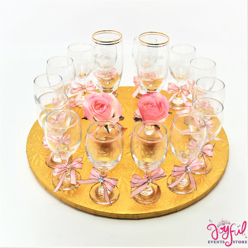 "5"" Light Pink Decorated Toasting Glasses  - 14 Glasses Plus 2 Cups  #TG15DEC6"