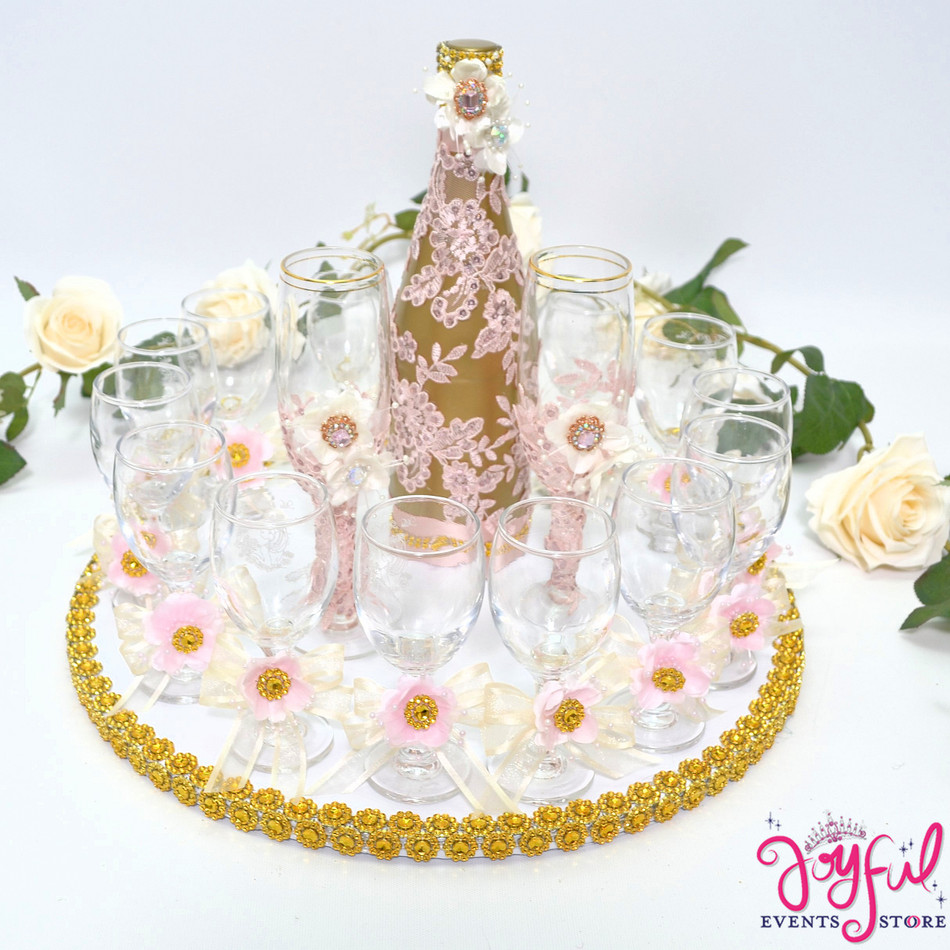 "5"" Light Pink Decorated Toasting Glasses  - 14 Glasses Plus 2 Cups and Cider Bottle  #TG27"