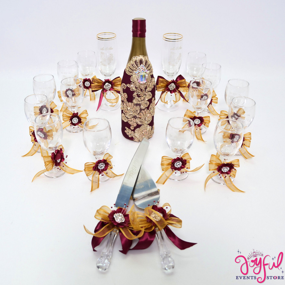 """5"""" Wine/Gold  Decorated Toasting Glasses  - 14 Glasses Plus 2 Cups and Cake Server Set and Cider Bottle #TG28"""
