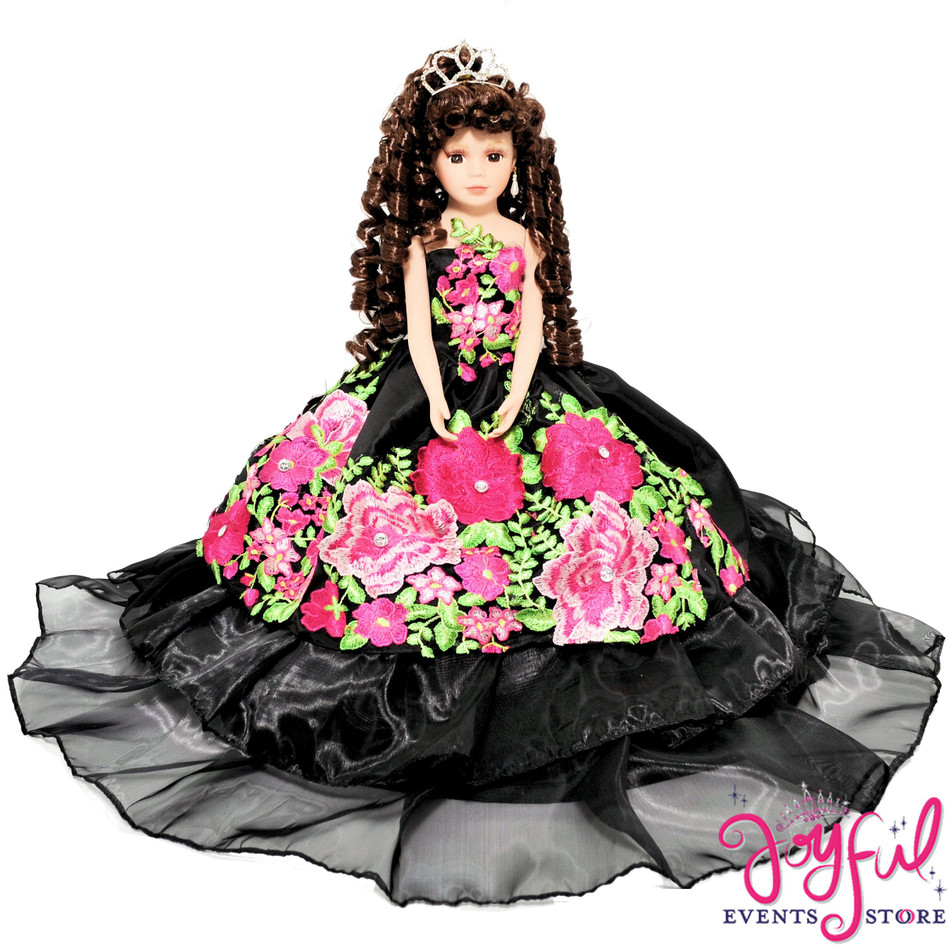 """20"""" Quinceanera Doll with Black Dress and Colorful Flowers - #QD123"""