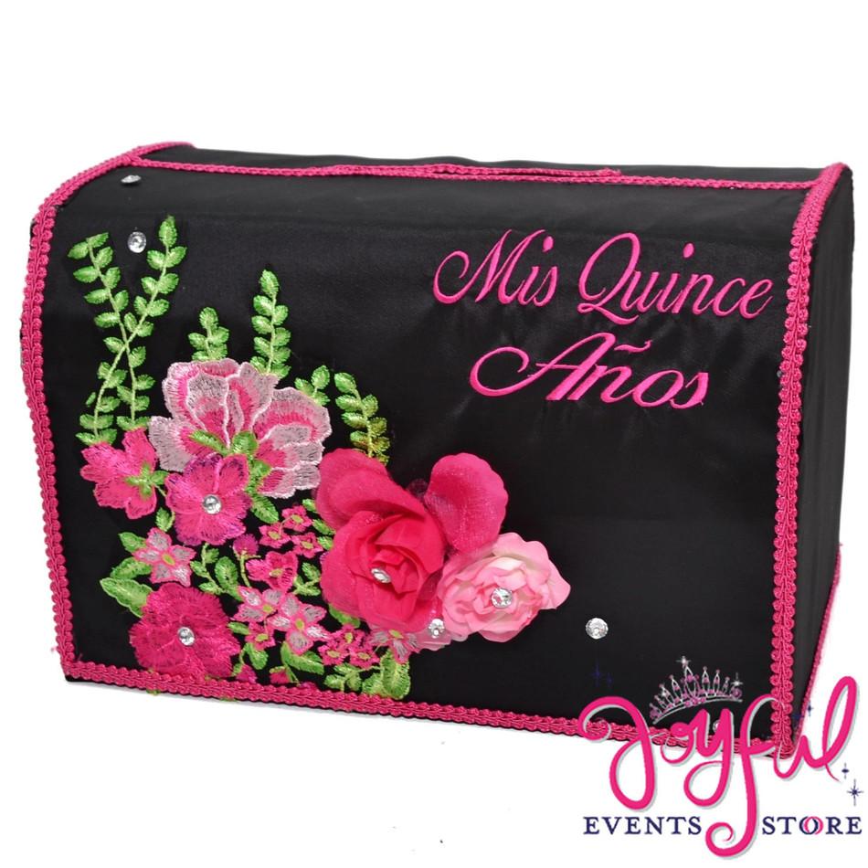 Quinceanera Black Money Box with Flower Design - #MNYBX123