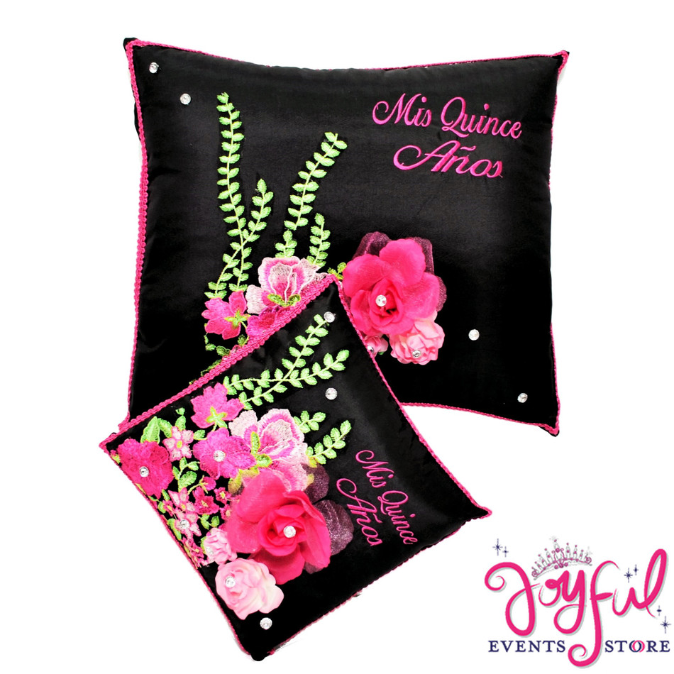 Quinceanera Black Pillows with  Floral Design - #PLW123