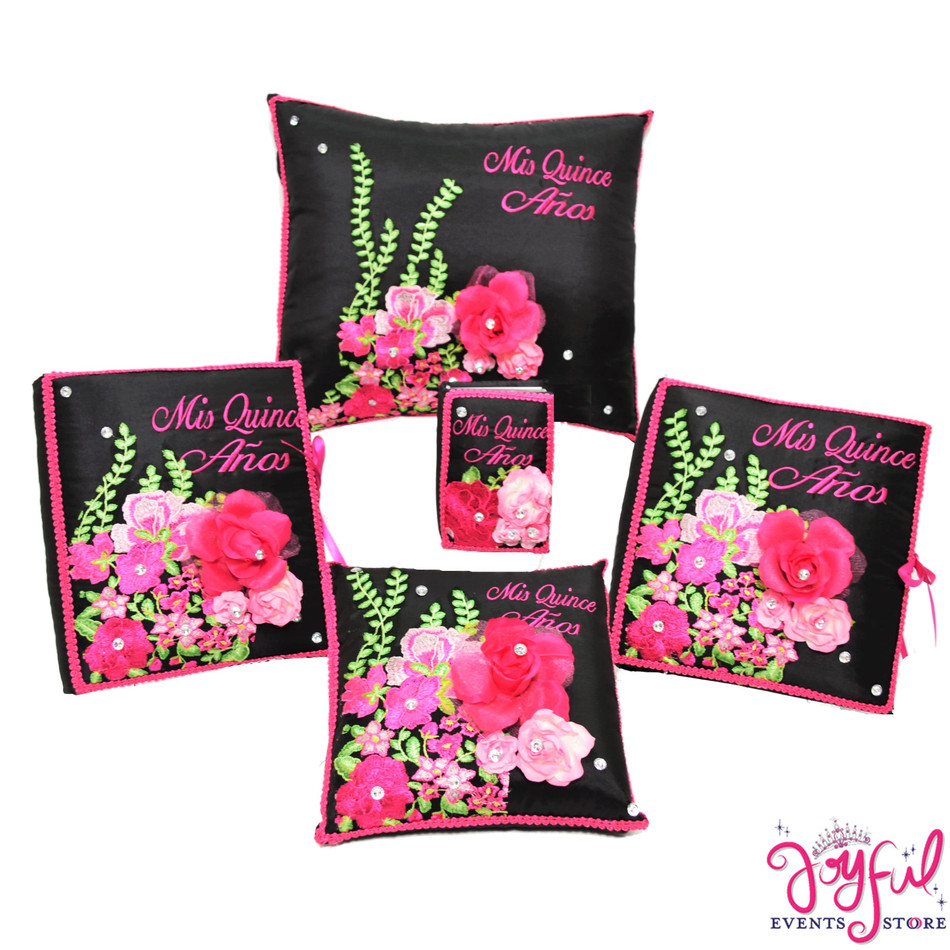 Quinceanera Floral Pillows, Guest Book, Photo Album and Bible #QSET156