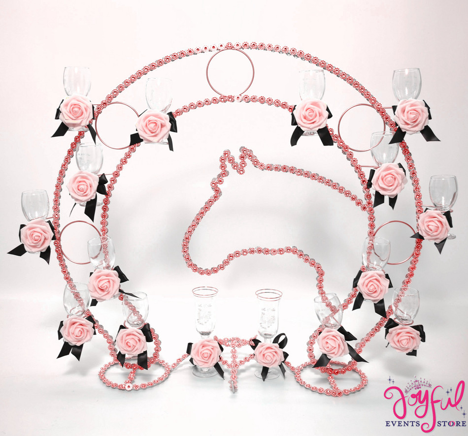 Rose Gold Western Theme Horse Shoe Design Toasting set with Quinceanera Glasses  #TS123