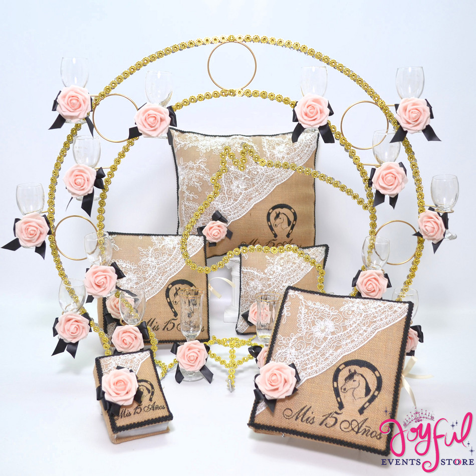 Western Theme Quinceanera Toasting Set with Pillows, Guest Book, Album, and Bible #QSP199