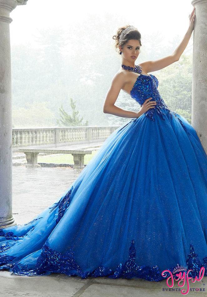 Royal Pattern Sequin and Glitter Tulle Quinceañera Dress #60110RR