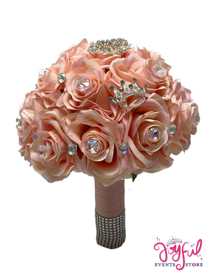 Coral Silk Flowers  Bouquet with Brouches #RAC94