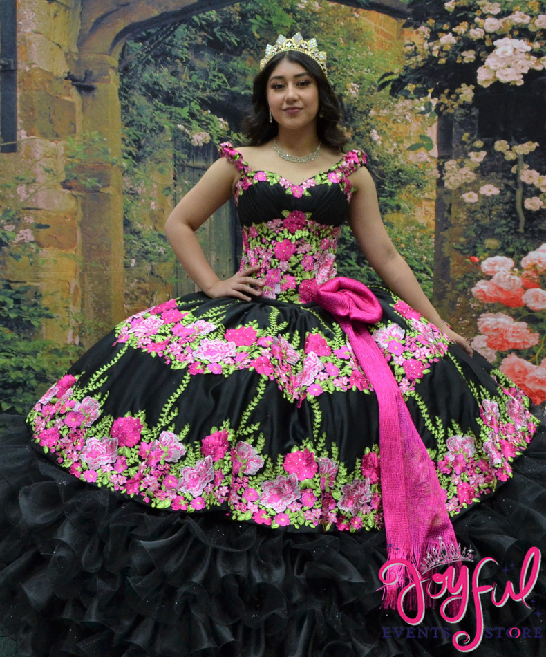 Black Charra Dress with Flower design #2025