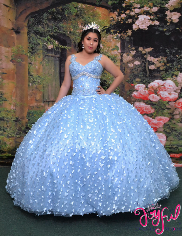 Blue  Butterfly Quinceañera  Dress  #2026