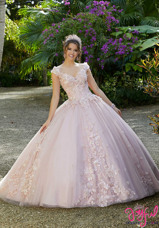 Beaded Floral Sparkling Tulle Quinceañera Dress #89282