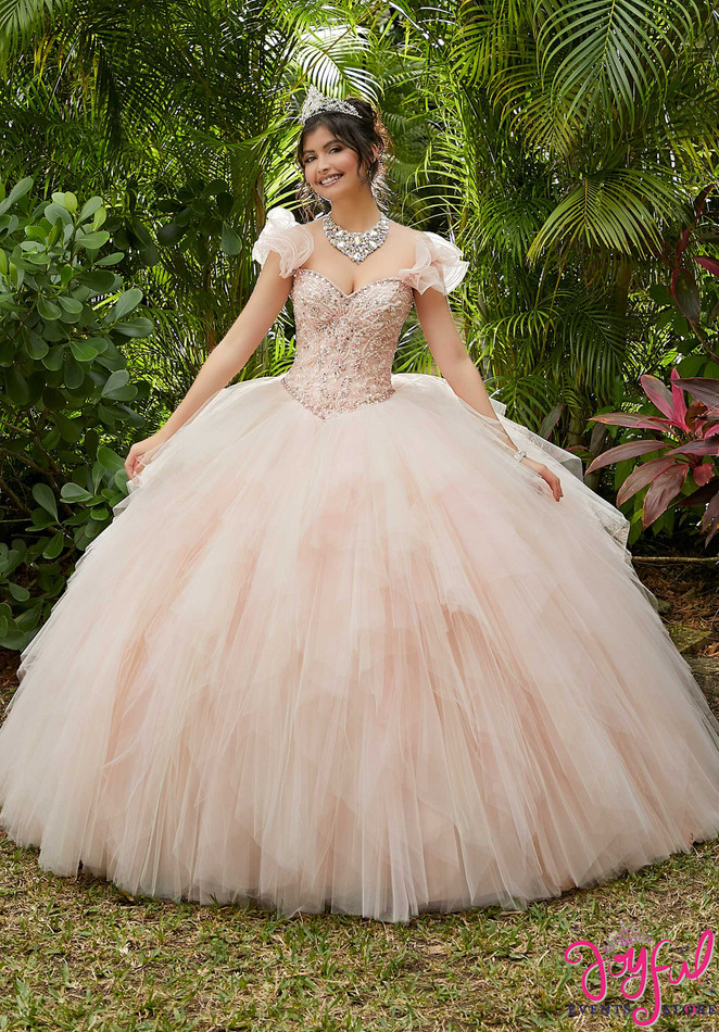 Crystal Beaded Ruffled Tulle Quinceañera Dress #89283