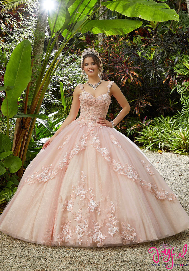 Three-Dimensional Floral Embroidered Quinceañera Dress #89286