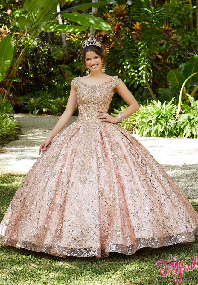 Glitter Patterned Net Quinceañera Dress #89287