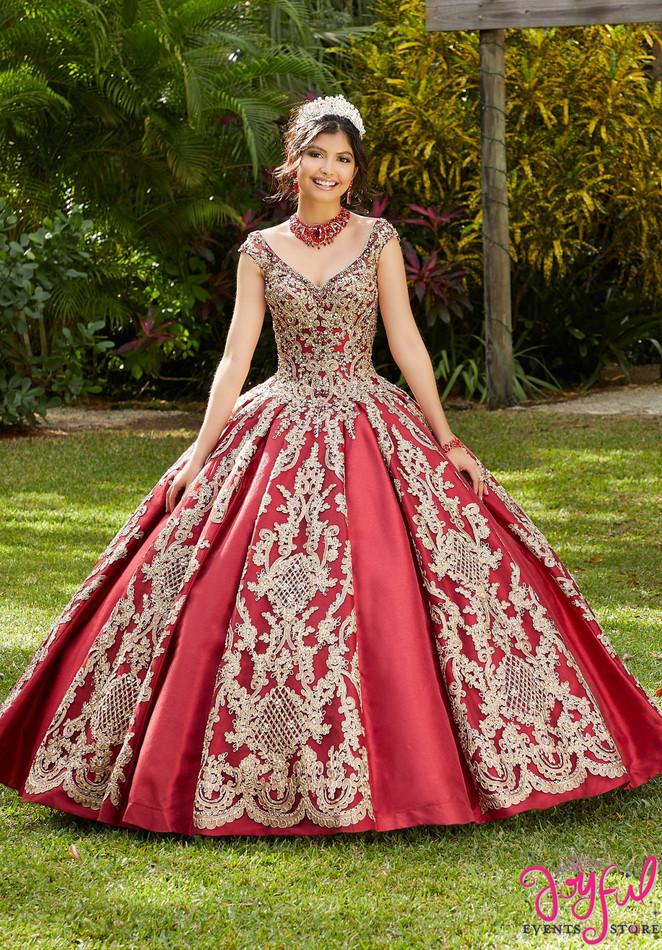 Metallic Lace and Larissa Satin Quinceañera Dress #89290