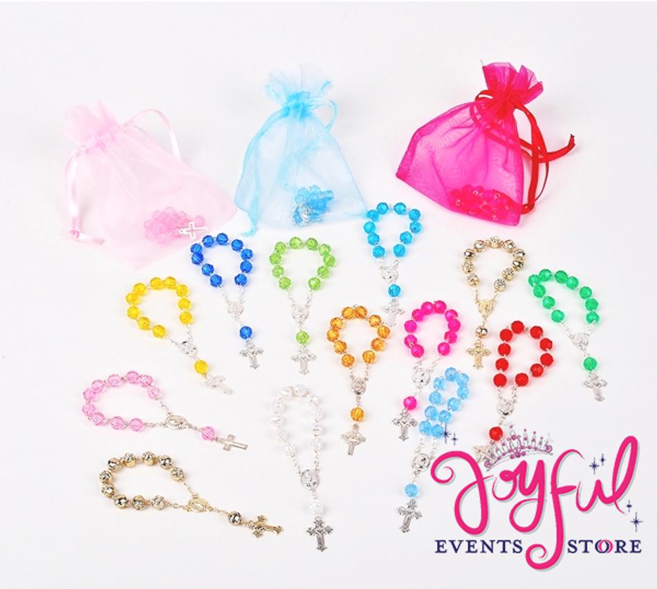"4"" Mini Color Rosary with Organza Bags Favors - One Dozen #PF17"