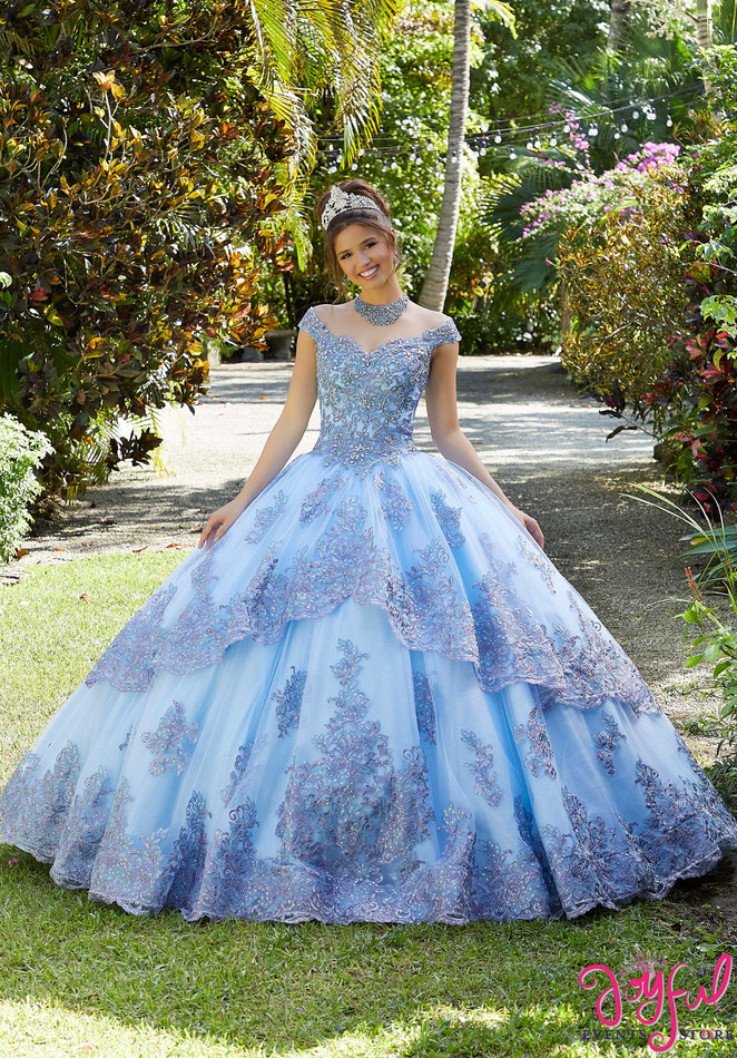 Metallic Embroidered and Crystal Beaded Quinceañera Dress #89294