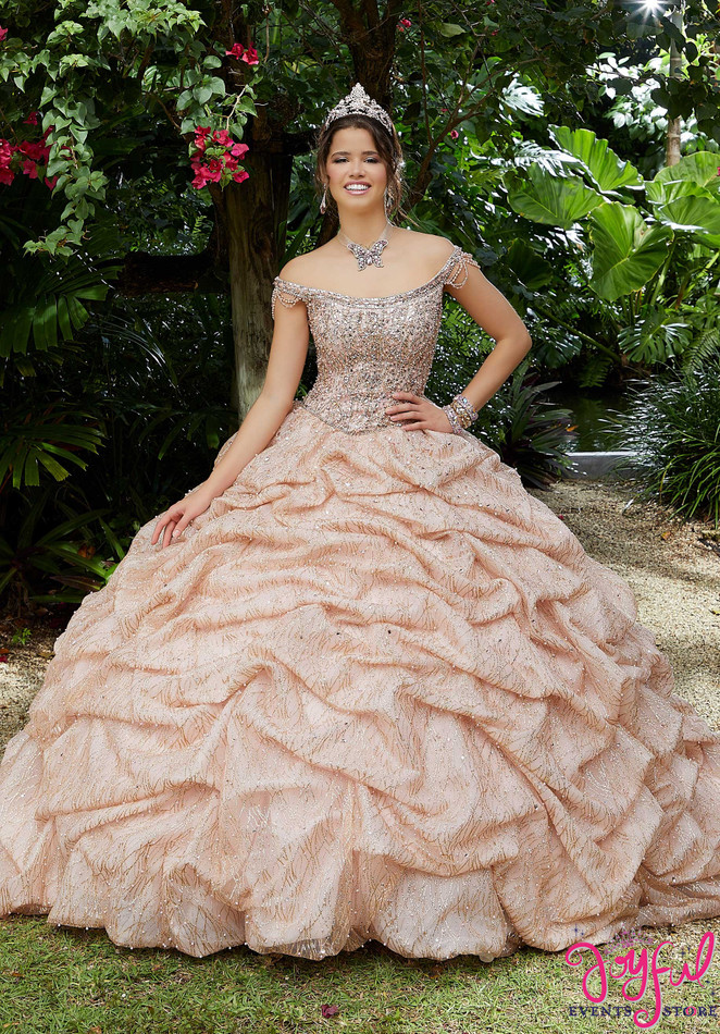 Ruched Glitter Net Quinceanera Dress #89296