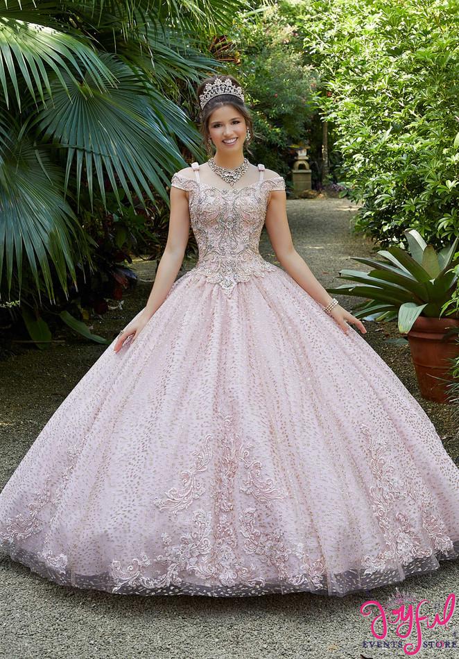 Metallic Embroidered and Glitter Net Quinceañera Dress #89298