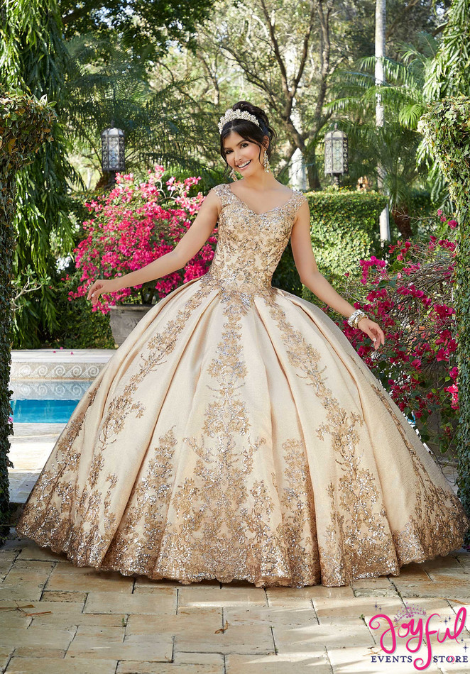 Sequined Brocade Box-Pleated Quinceañera Dress #60121